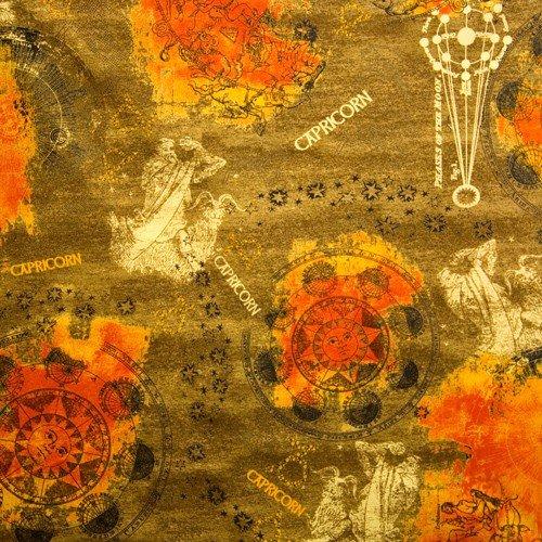Capricorn, New Dawn Capricorn, Horoscope Fabric, Capricorn Fabric, Zodiac Signs, Astrology Fabric, New Dawn by Fabri Quilt, 01064A