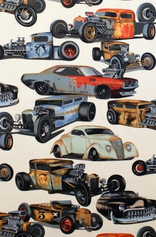 Hot Rod Fabric, Hot Rods by Alexander Henry, Hot Rod Cars, Vehicle Fabric, 01079A