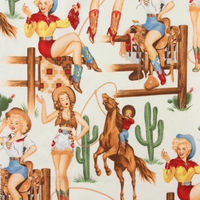 Back in the Saddle by Alexander Henry, Cowgirl Fabric, Western Fabric, Pin Up Girls, Cactus Fabric, Pin Up Cowgirls, 01059A