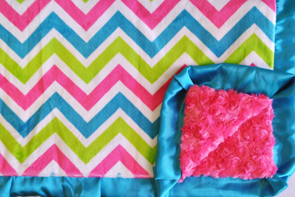 Chevy Seaside: Chevron Pink Turquoise and Lime Green with Hot Pink Swirl  and Turquoise Ruffle.