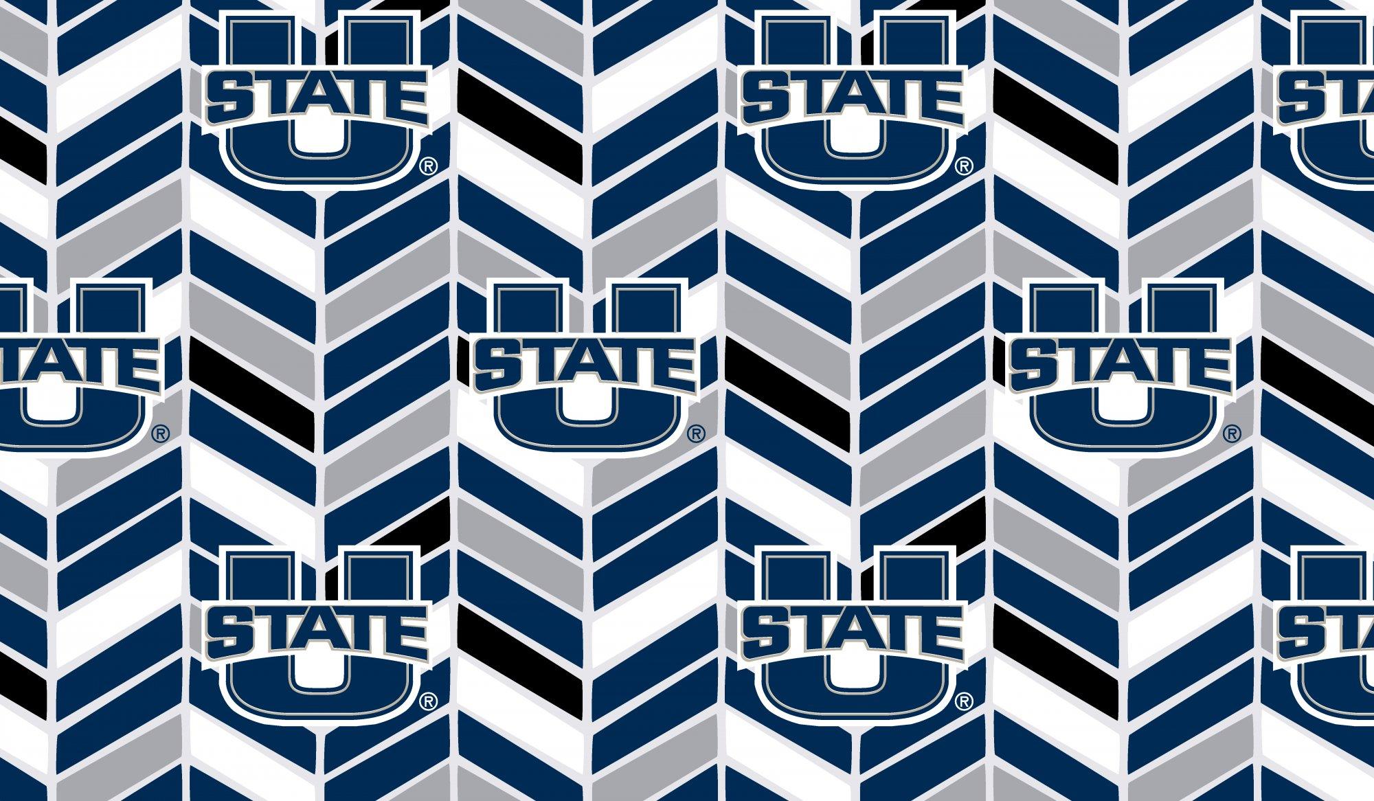 Utah State Herringbone/Divinity Navy/No Ruffle