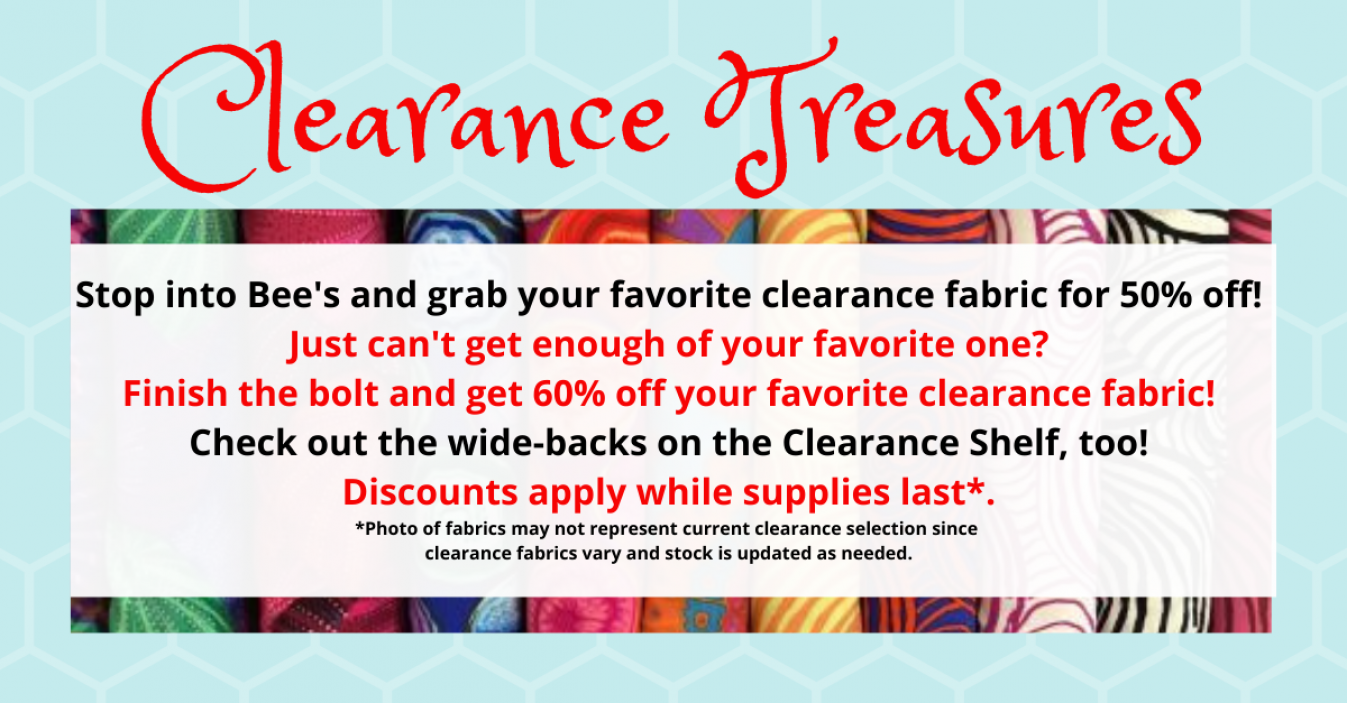 bee's quilt shop st augustine clearance fabric sale