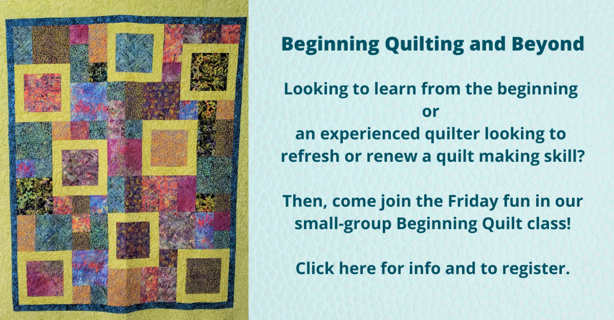 bee's quilt shop beginning quilting class fridays with Steve