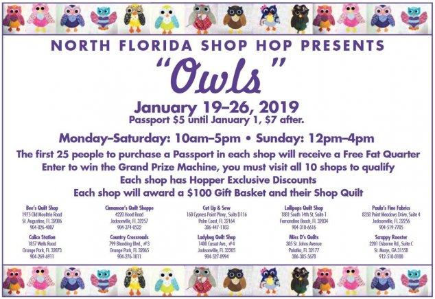 North East Florida 2019 Shop Hop at Bee's Quilt Shop - Owls