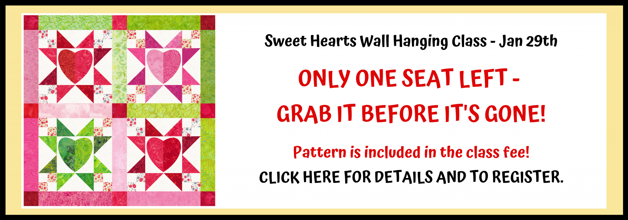 bee's quilt shop st augustine florida classes wallhanging quilt class hearts valentine