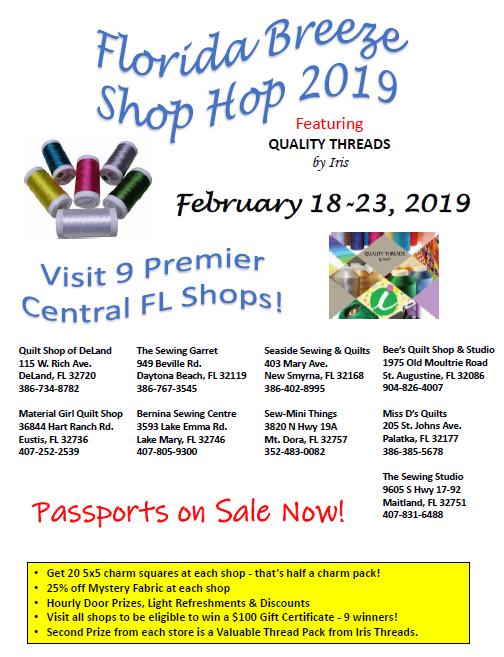 Florida Breeze Shop Hop 2019 at Bee's Quilt Shop