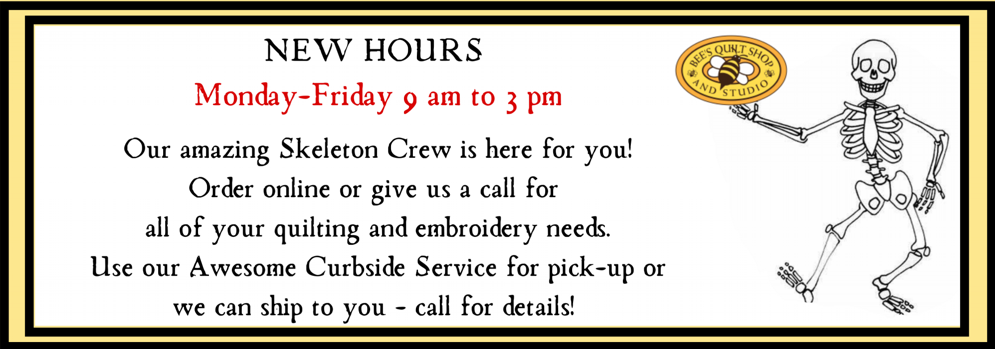 bee's quilt shop st augustine covid19 hours