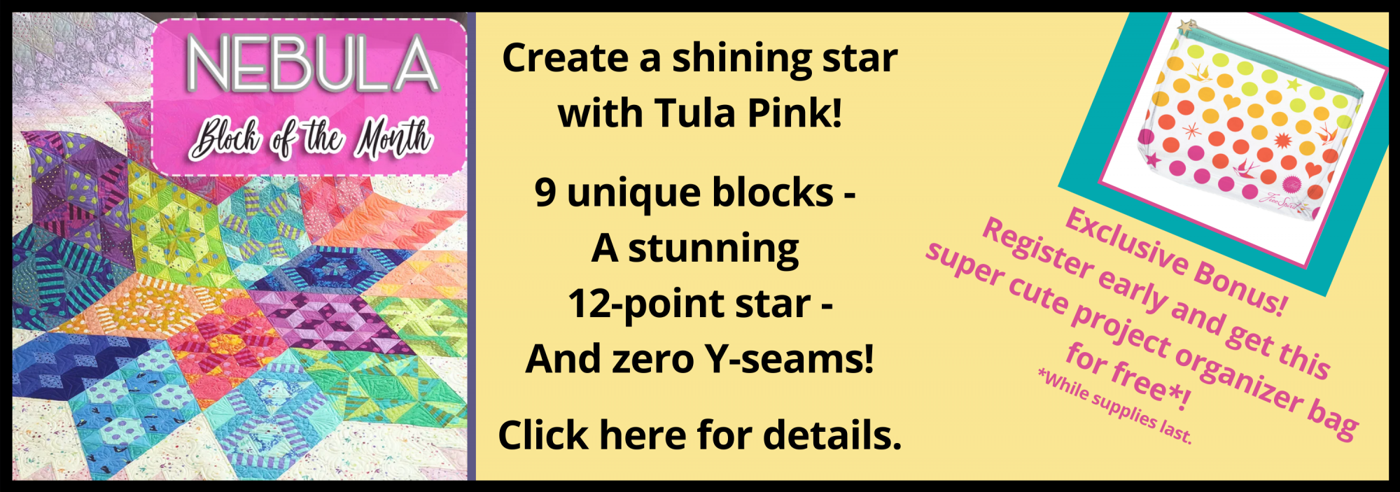 bee's quilt shop st augustine tula pink block of the month bom nebula