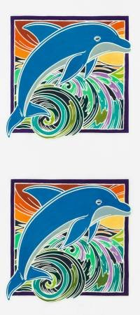 KAU Tropical Painted Panel Dolphin