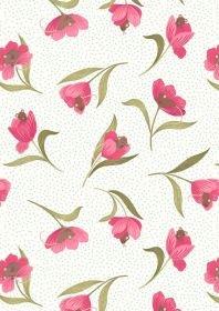 Tulip Fields Mouse & Tulip on Cream A460-1