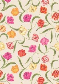 Tulip Fields Tulips on Cream A461-1