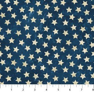 Stars & Stripes Cream Stars Blue Background 39101-49