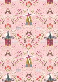 Tulip Fields Windmills on Rose A458-2