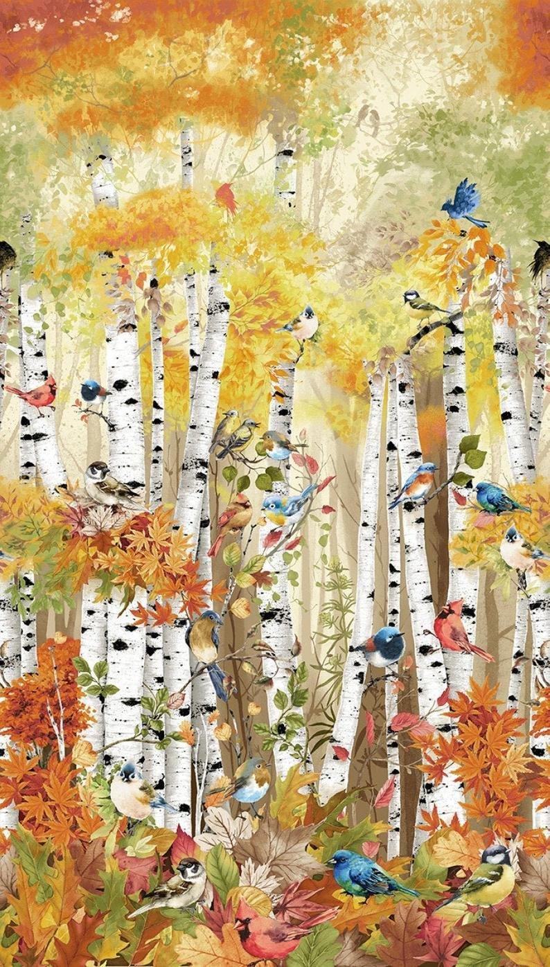 Birds in Birch Trees Panel 24in CD7408-MLT