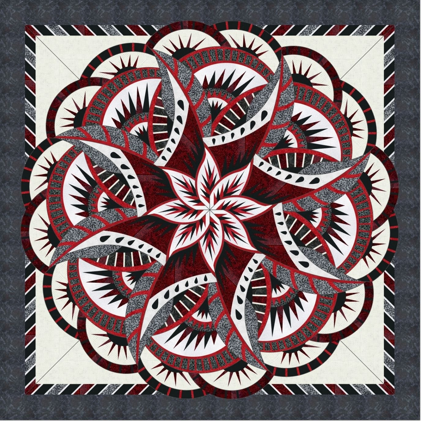 Coral Reef Red & Black Quilt Kit- Queen Size