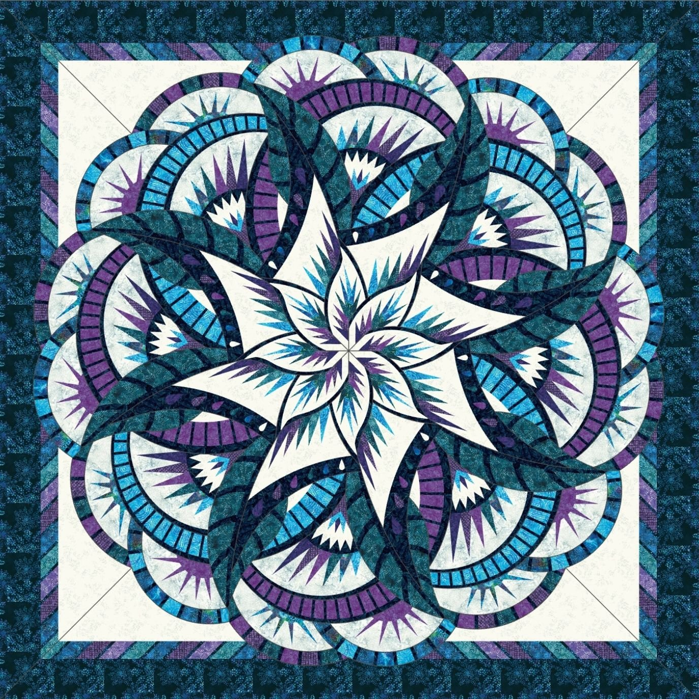 Coral Reef Teal & Purple Quilt Kit- Queen