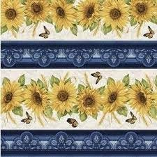 Accent of Sunflowers Stripe Blue Multi 10212 55