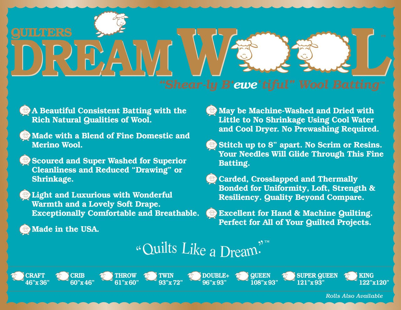 Quilters Dream Batting Wool Double