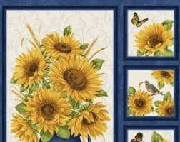 Accent of Sunflowers Panel Blue Multi 10211 55