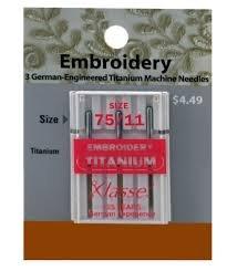 Klasse Embroidery ndl size 75/11 Titnium A5 108 T