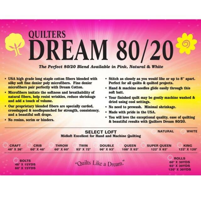 Dream Cotton 80/20 Double White Batting EWD