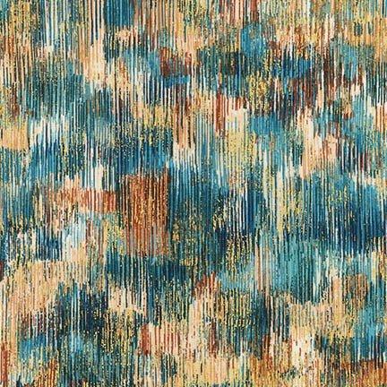 Fusions Brushwork Teal Blue SRKM-18059-403