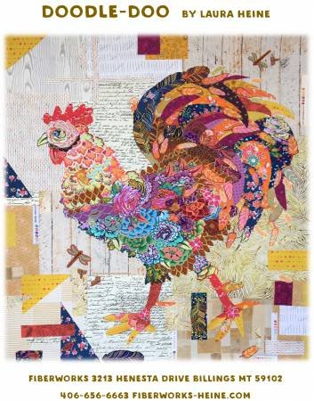 Doodle Rooster Collage Pattern
