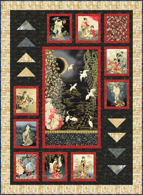 Geishas in the Moonlight quilt kit (binding included)
