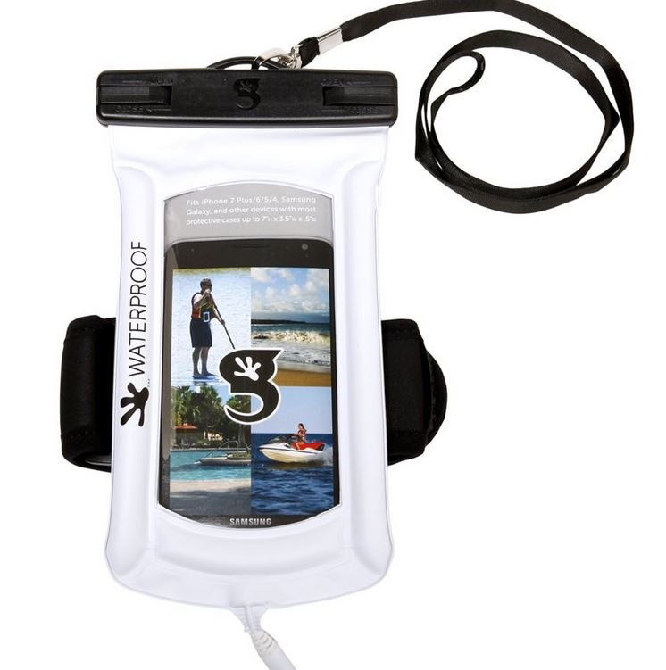 Gecko Waterproof Float Phone Dry Bag with Audio Cord/Arm Band