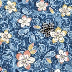 Akemi Tossed Floral Demin 1649-277-W