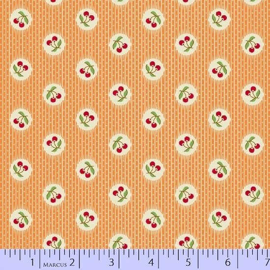 30s Print Aunt Grace Orange Cherries R35-6263-0328