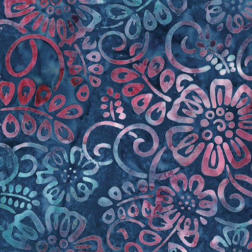 Batik Flower Patch Blueberry