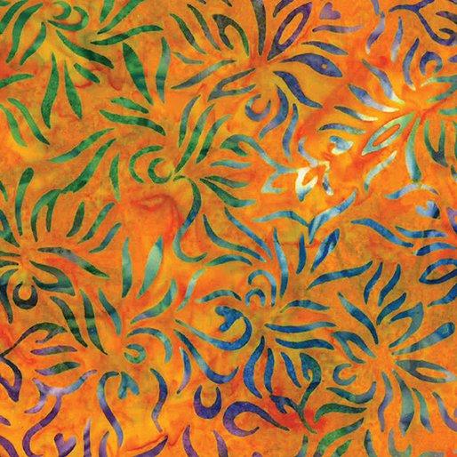 Batik Outline Floral Orange Multi