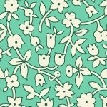 30s Print Aunt Grace Green with White Flowers R35-6260-0314
