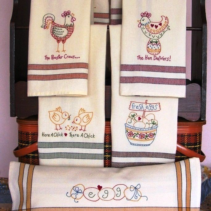 Bird Brain Designs The Hen Delivers Tea Towels 378
