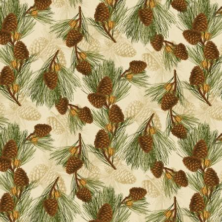 Festive Forest 68477-127 Pinecones Tan