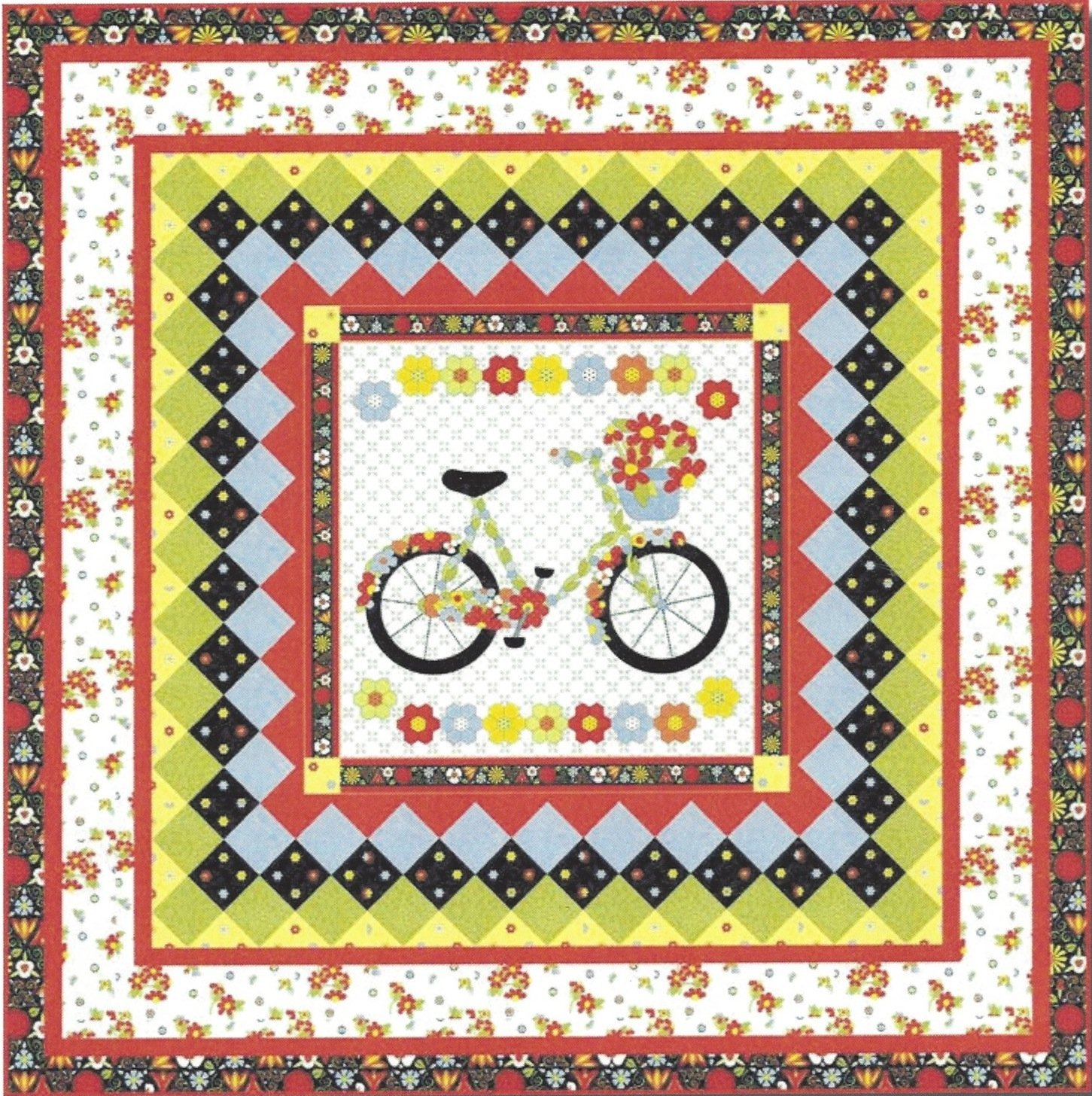 BICYCLES & BLOOMS Quilt Kit 60 x 60