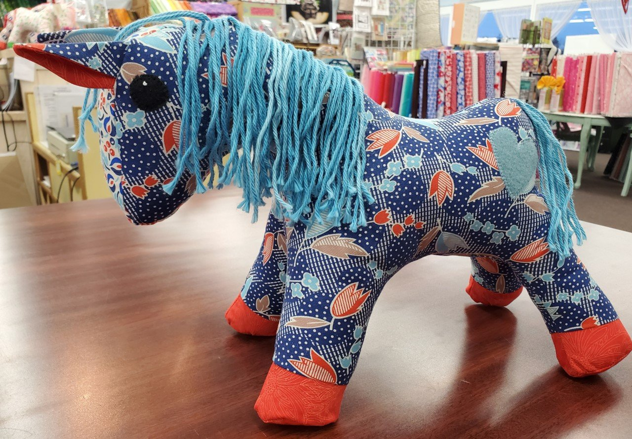 A Herd For Hugs - Blue Floral Calico Horse