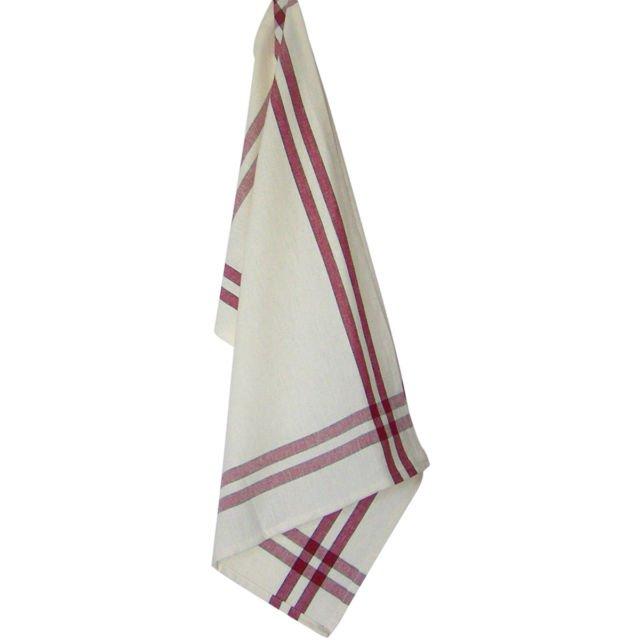 Tea Towel Red Cream wuth Black Strip K360-RC