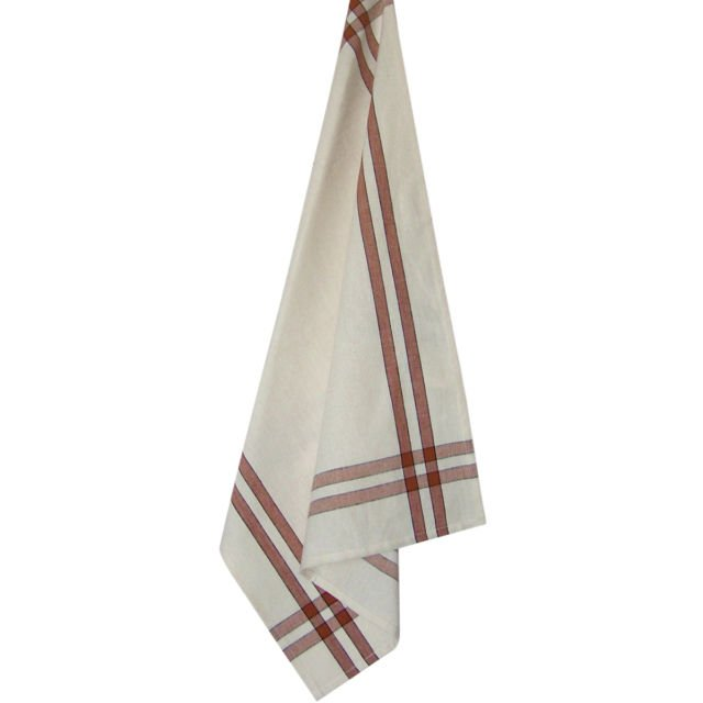 Tea Towel Terra Cotta and Cream with Black Strip K360-TC