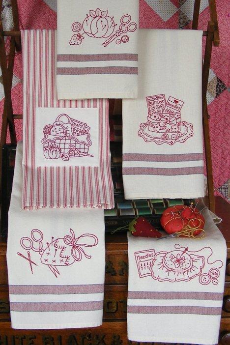Redwork Kitchen Tea Towels