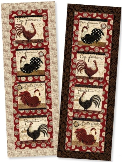 Around the Block Wall Hanging/Table Runner Kit - Elegant Roosters