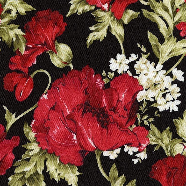 Audrey - Fuchsia Poppy & White Floral on Black