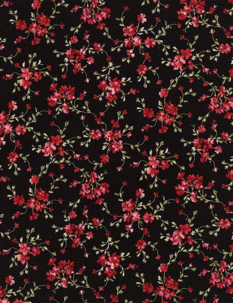 Audrey - Fuchsia Floral Vine on Black