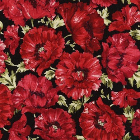 Audrey - Allover Fuchsia Poppy Print on Black