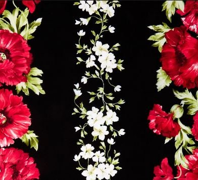 Audrey - Fuchsia Poppy & White Floral Border Print
