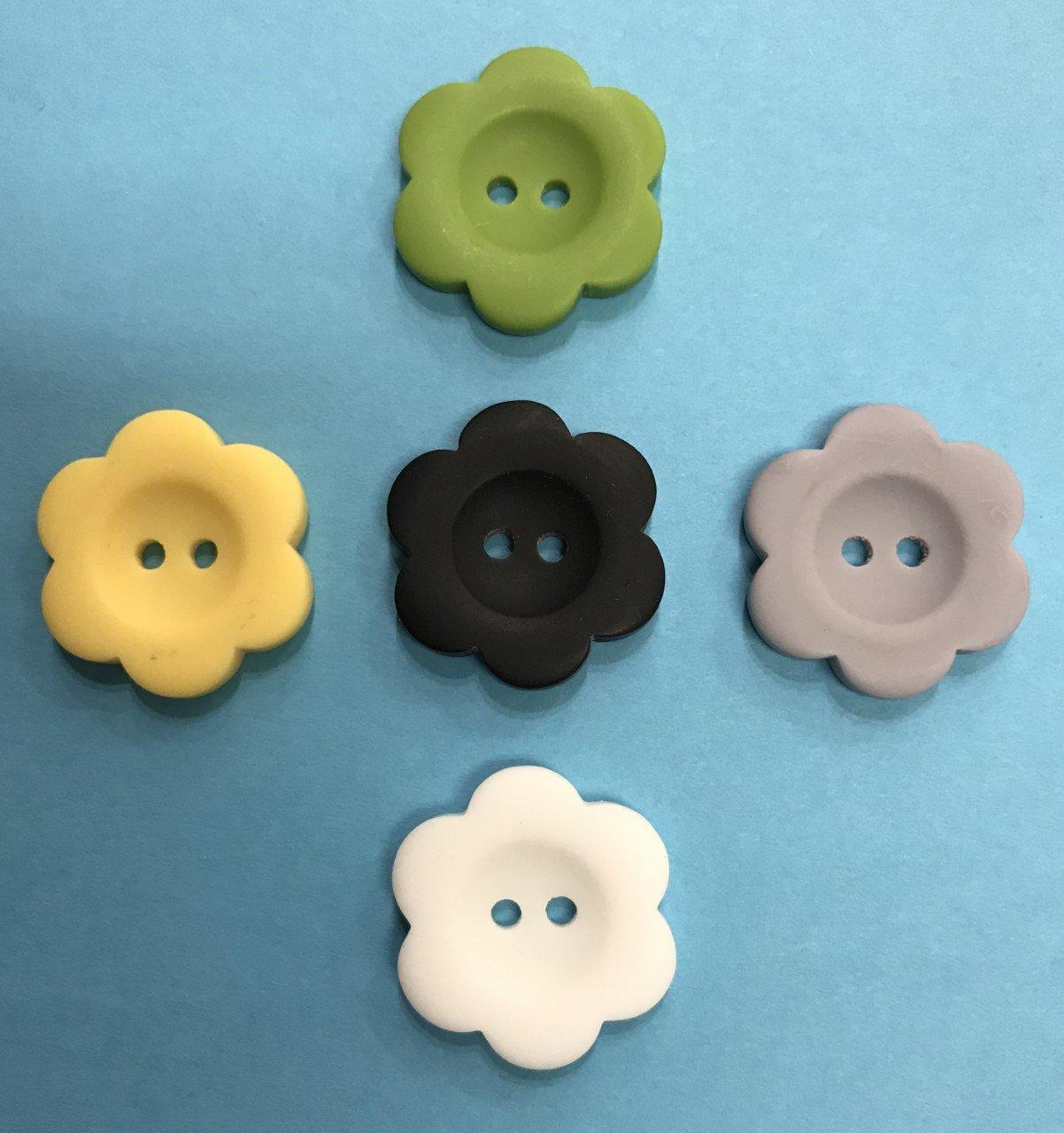 1 Flower Buttons - Matte Finish