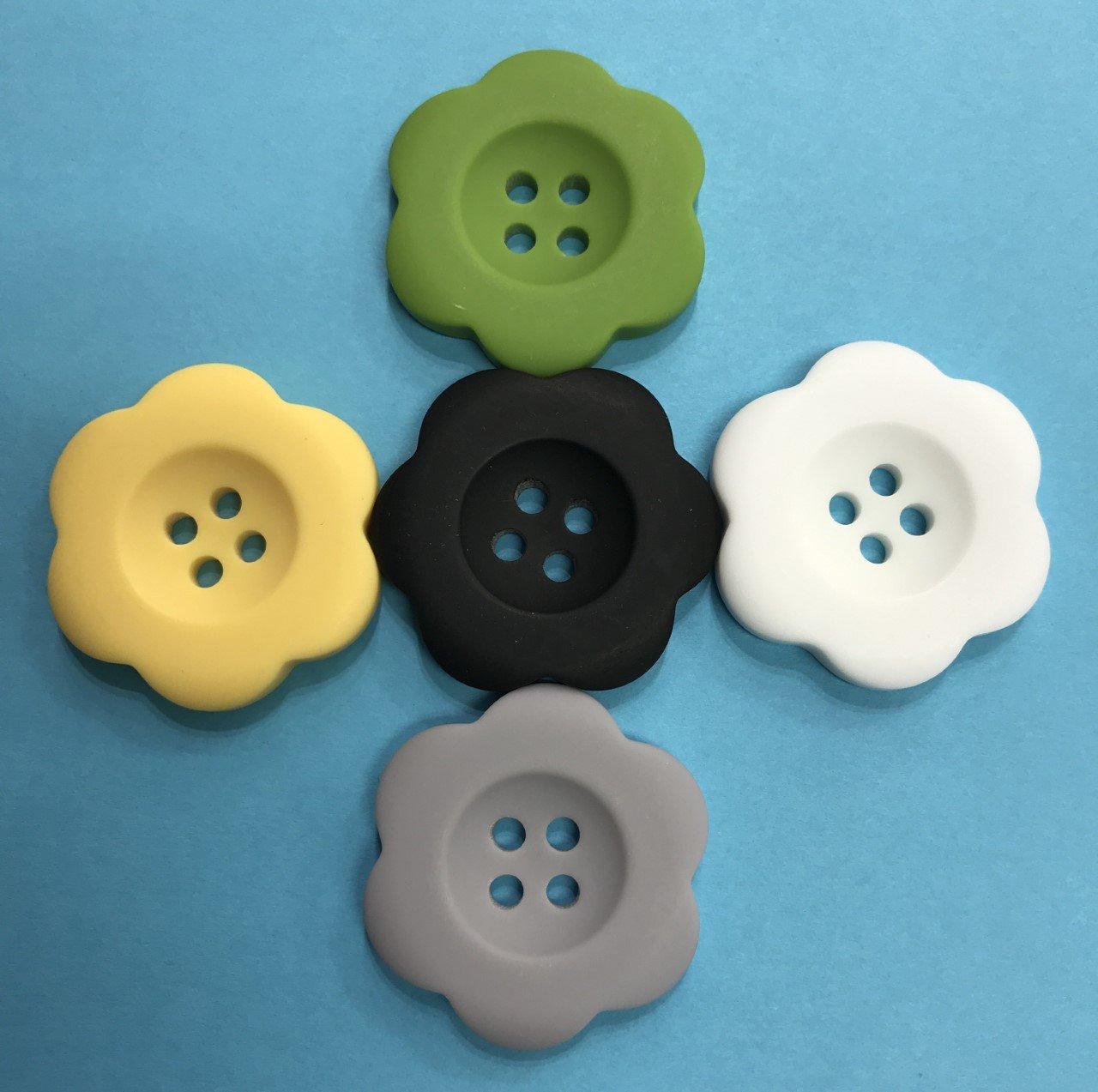 1-1/2 Flower Buttons - Matte Finish