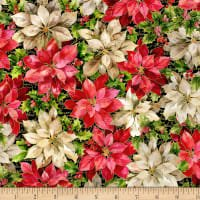 Noel - Large poinsettias with metallic green