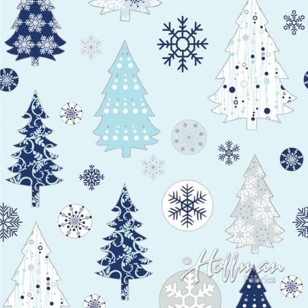 Blue Trees & Snowflakes - Metallic Silver